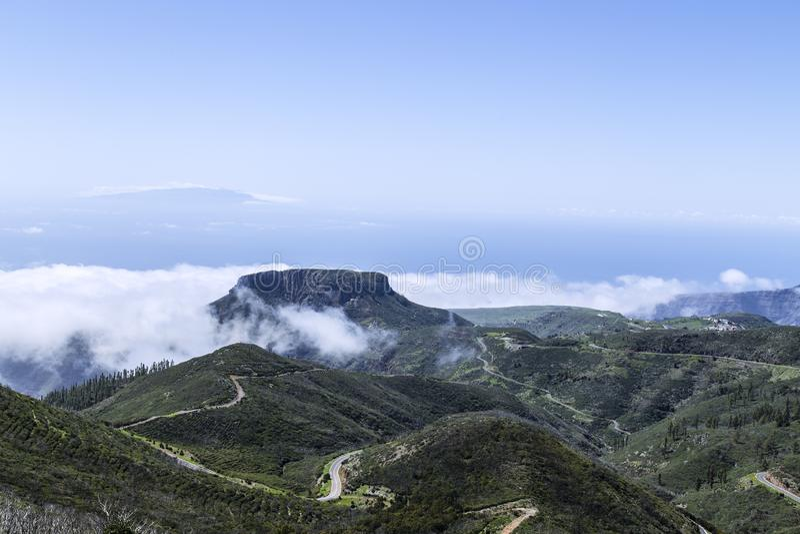 La Gomera, in Valle Gran Rey, is La Fortaleza van de Lijstberg royalty-vrije stock foto's
