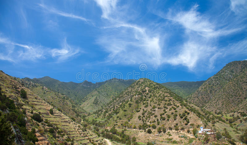 La Gomera, Vallehermoso. View across valley to cultivation terraces royalty free stock photos