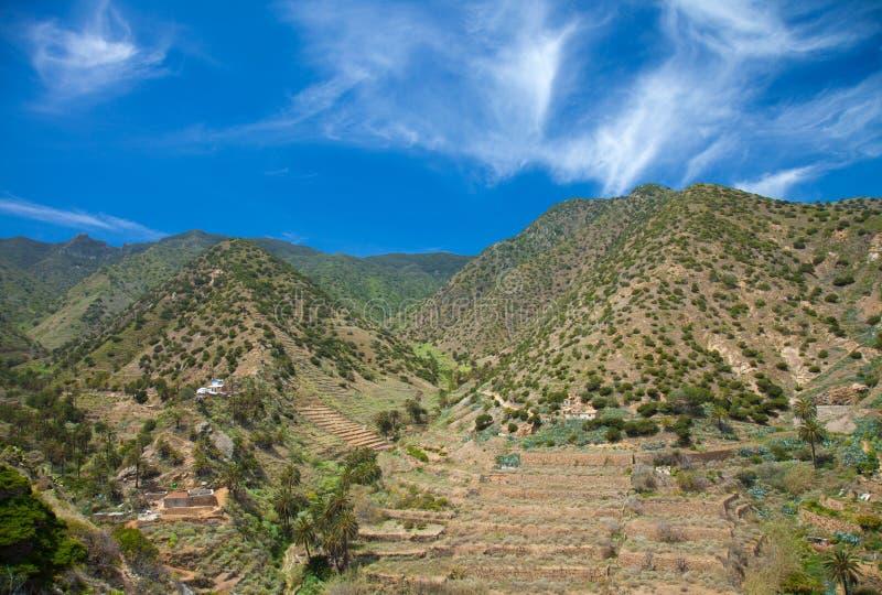 La Gomera, Vallehermoso. View across valley to cultivation terraces stock photo