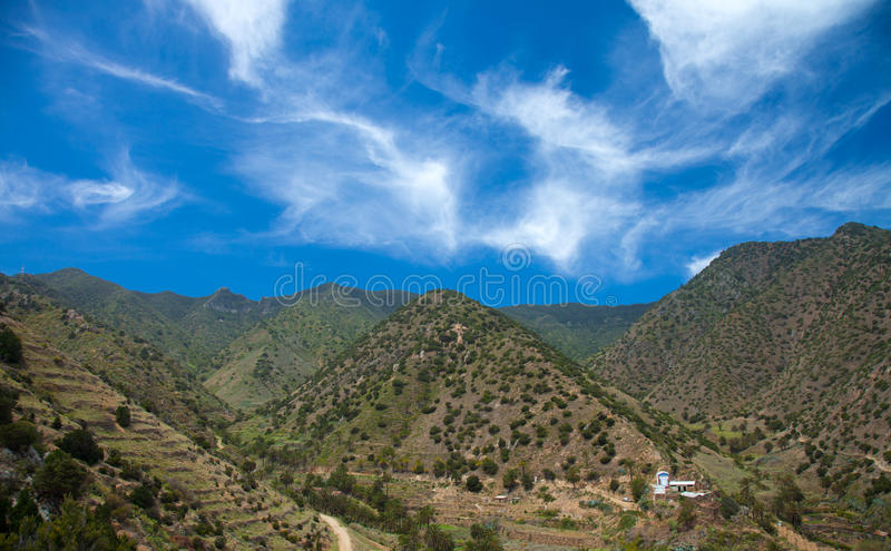 La Gomera, Vallehermoso. View across valley to cultivation terraces royalty free stock photography