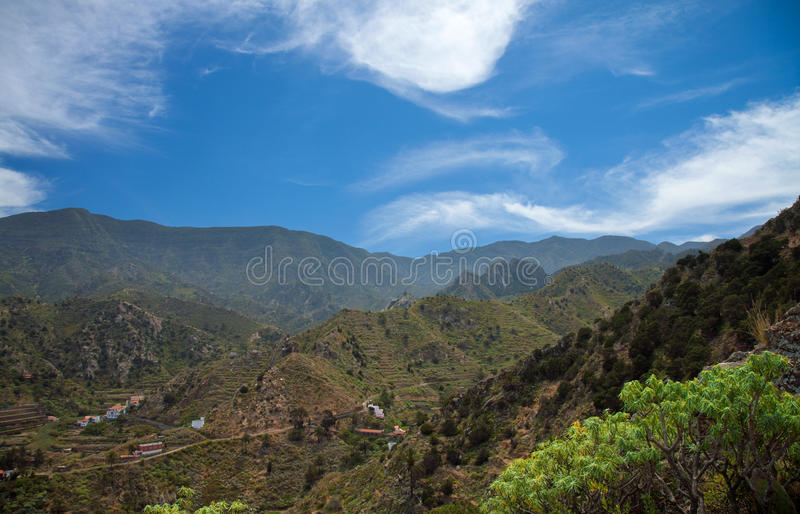 La Gomera, Vallehermoso. View over the village towards the center of the island royalty free stock image