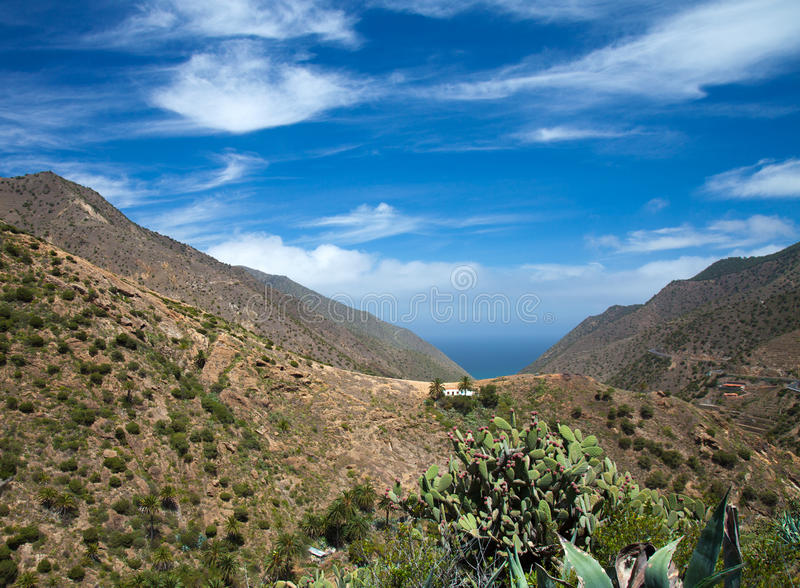 La Gomera, Vallehermoso. View towards the ocean stock photography