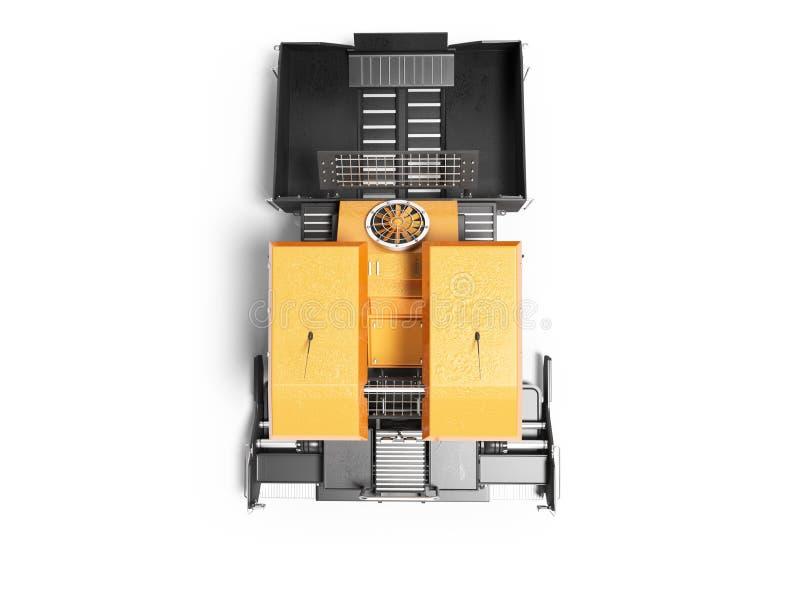 La gomma arancio del cingolo del lastricatore dell'attrezzatura per l'edilizia va vista superiore 3d rendere su fondo bianco con  illustrazione di stock