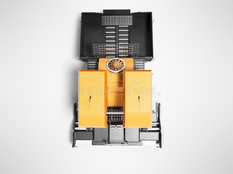 La gomma arancio del cingolo del lastricatore dell'attrezzatura per l'edilizia va vista superiore 3d rendere su fondo grigio con  royalty illustrazione gratis