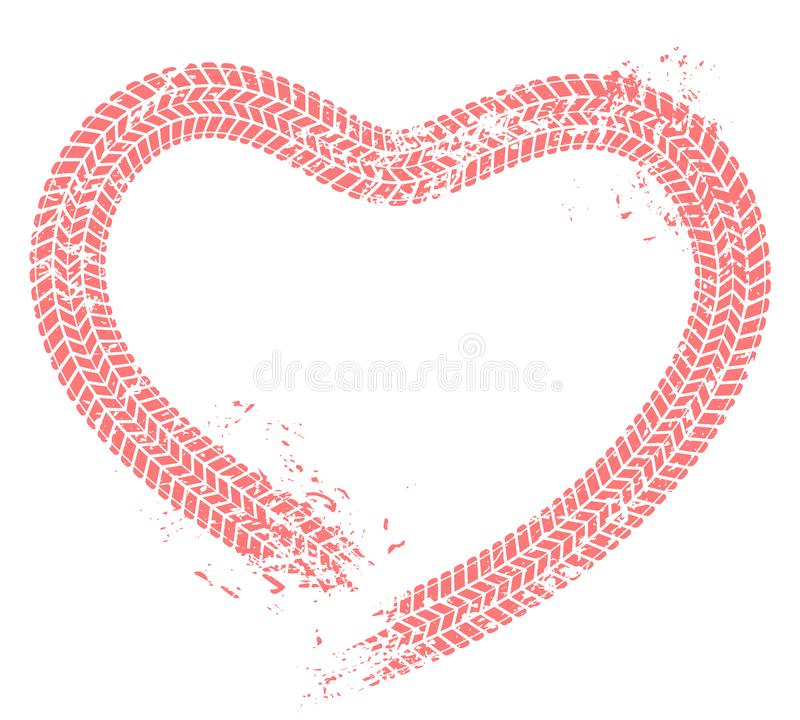 La gomma segue il cuore L'amore dell'automobilista, cuori stanca la pista e l'illustrazione di vettore di lerciume della carta de illustrazione di stock