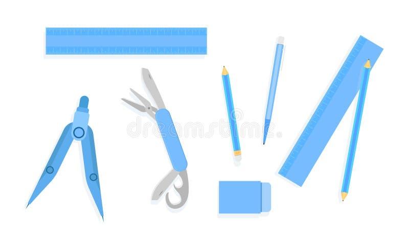 La gomme de stylo de crayon de règle fait le tour de l'illustration bleue eps10 de ton de panier de couteau de poche illustration libre de droits