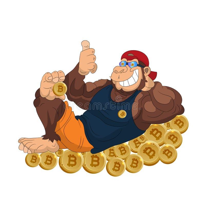 La gorilla della scimmia si trova sul bitcoin delle monete, mostra i pollici su, fumetto o royalty illustrazione gratis