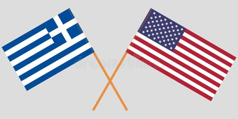 La Grèce et les Etats-Unis Drapeaux grecs et américains croisés Couleurs officielles Proportion correcte Vecteur illustration de vecteur