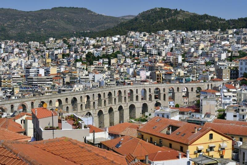 La Grèce, Kavala, aqueduc image stock