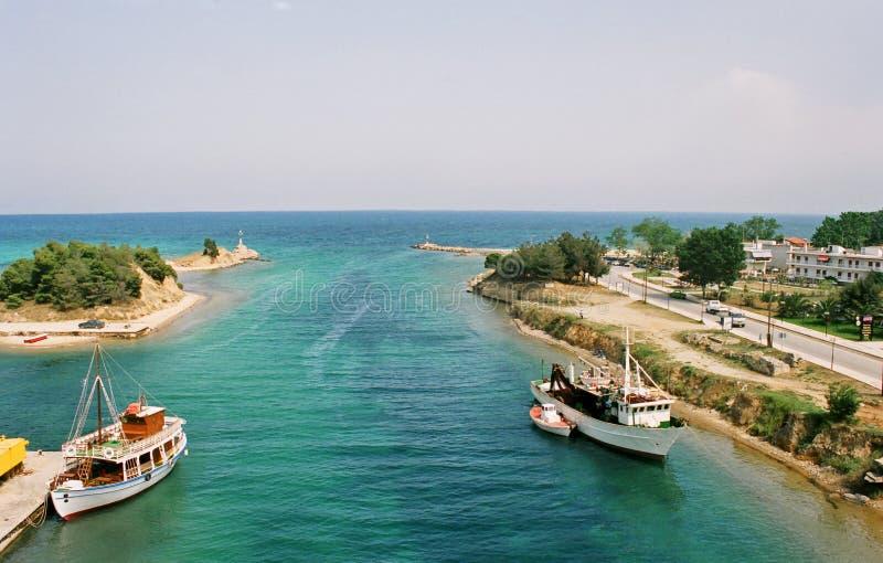 La Grèce, le canal. photo stock
