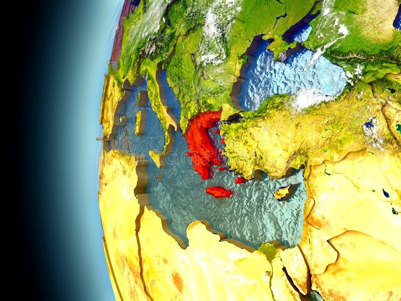 La Grèce sur terre de planète de l'espace illustration libre de droits