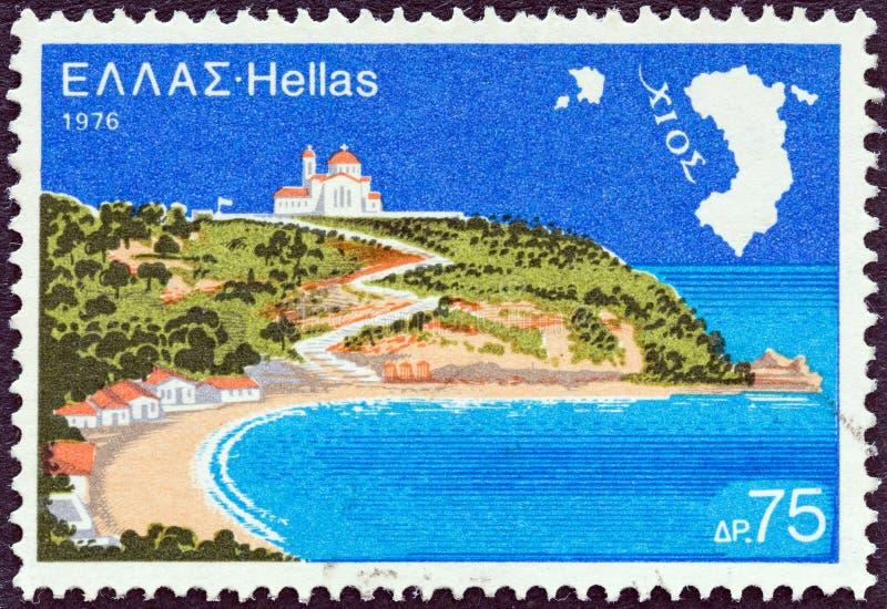 LA GRÈCE - VERS 1976 : Un timbre imprimé en île de Chios d'expositions de la Grèce, vers 1976 images stock