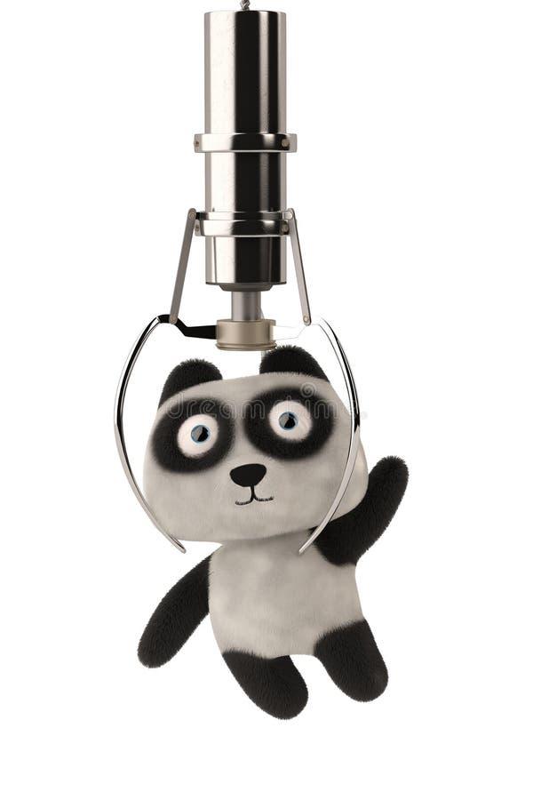 La grúa del juguete trabaja a máquina el clip una panda de la historieta ilustración 3D stock de ilustración