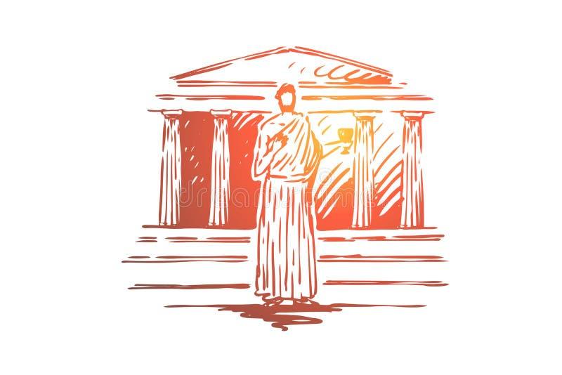 La Gr?ce, voyage, temple, b?timent, concept de colonne Vecteur d'isolement tir? par la main illustration stock