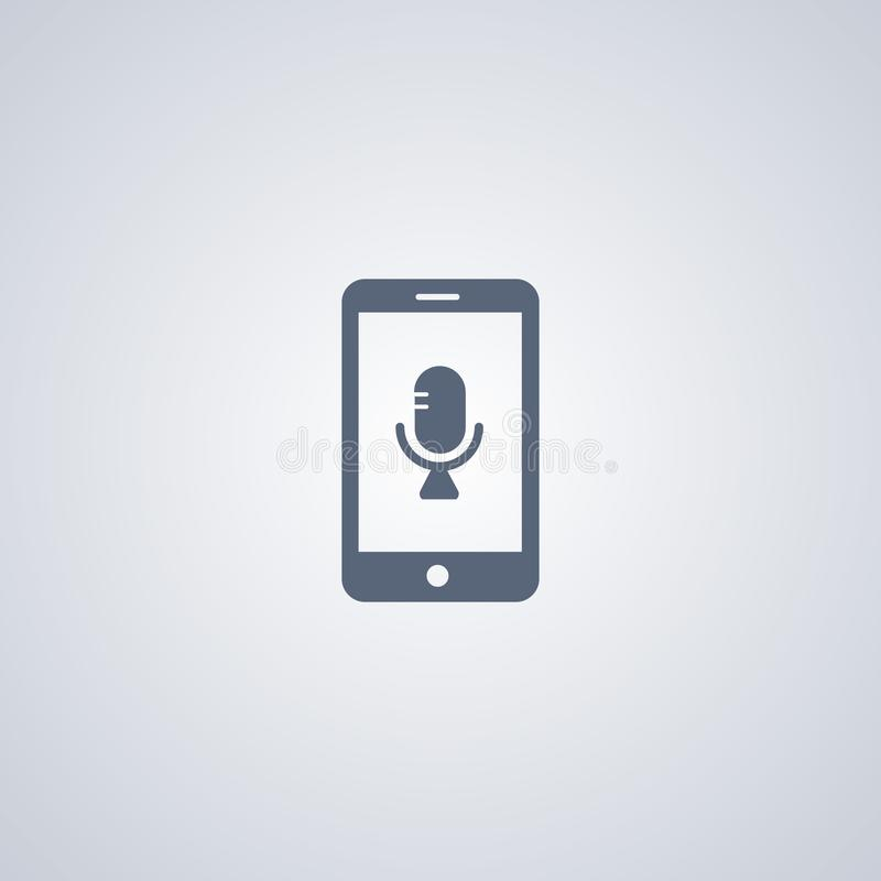 La grabadora de voz móvil, vector el mejor icono plano ilustración del vector