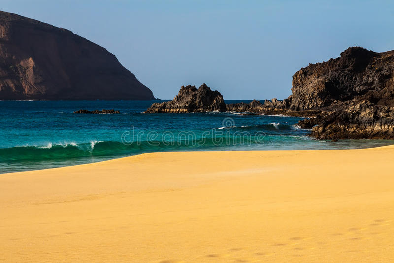 金丝雀热带天堂海滩  免版税库存照片