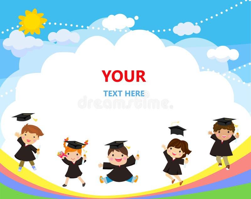 La graduación embroma el salto con los sombreros que vuelan en el aire libre illustration