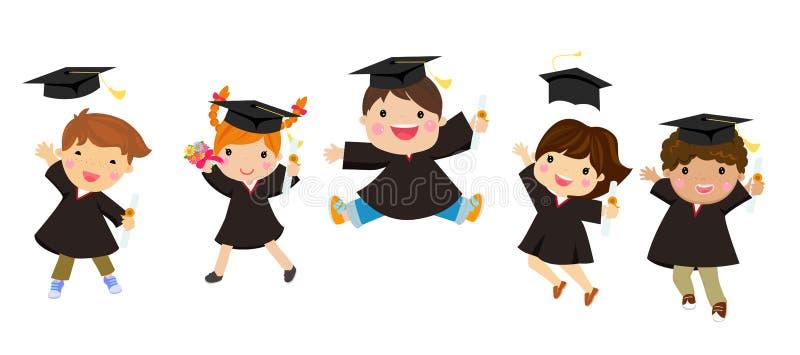 La graduación embroma el salto con los sombreros que vuelan en el aire stock de ilustración