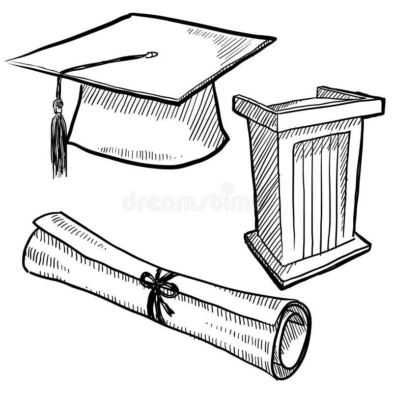 La graduación se opone bosquejo libre illustration