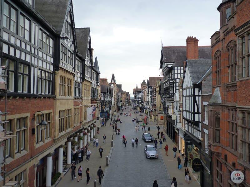 La Gran Bretagna, Inghilterra, Chester - la via di Eastgate a Chester immagine stock libera da diritti