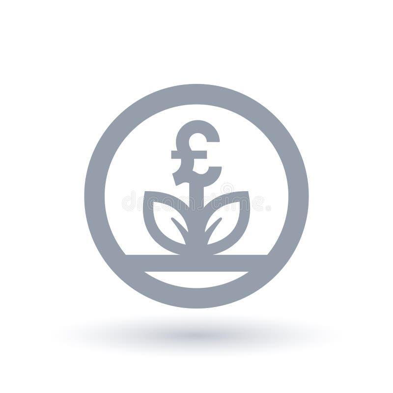 La gran moneda de la libra británica crece el icono del concepto ilustración del vector