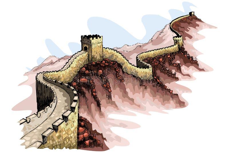 La Gran Muralla de China stock de ilustración