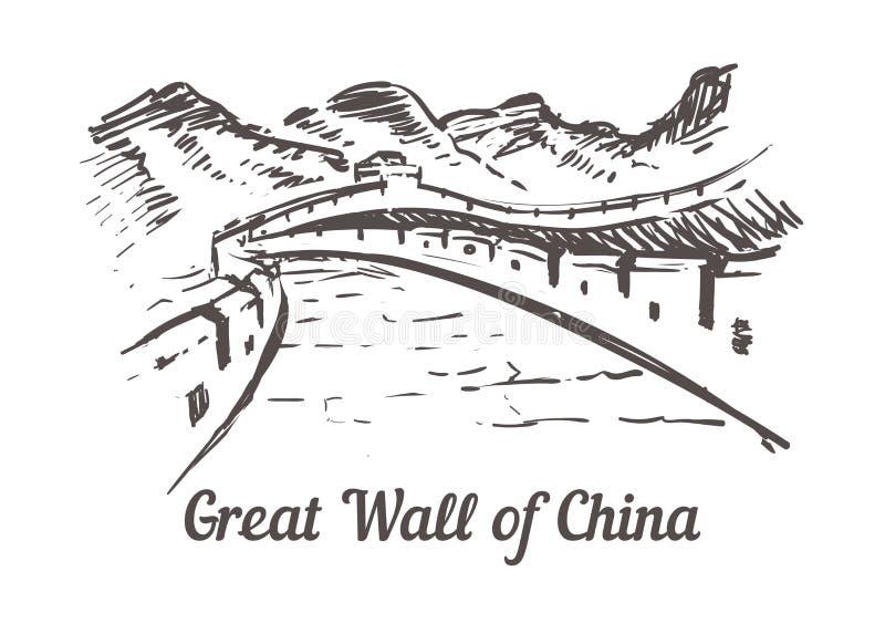 La Gran Muralla de China Ejemplo exhausto del bosquejo de la mano de China del paisaje ilustración del vector