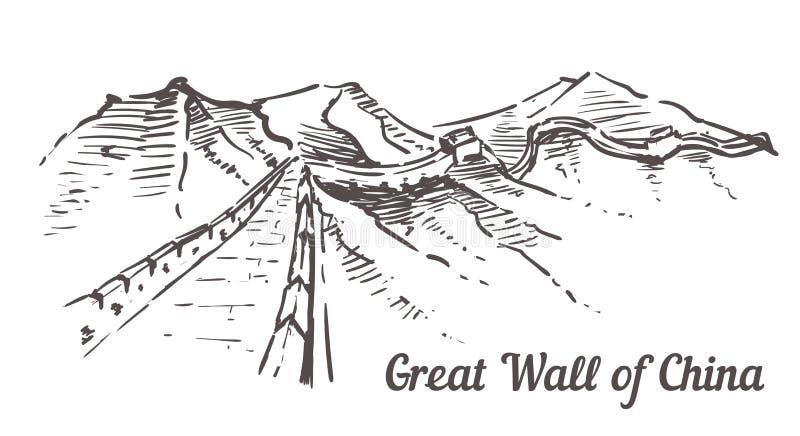 La Gran Muralla de China Ejemplo exhausto del bosquejo de la mano de China del paisaje libre illustration