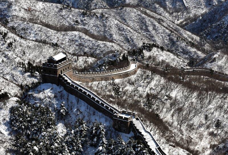 La Gran Muralla en nieve del blanco puro imagen de archivo libre de regalías