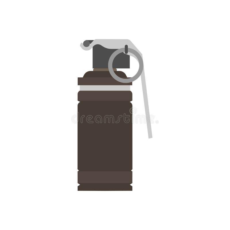 La granata istantanea esplode l'icona di vettore della bomba della scintilla dell'arma Illustrazione militare dell'isolato di con royalty illustrazione gratis