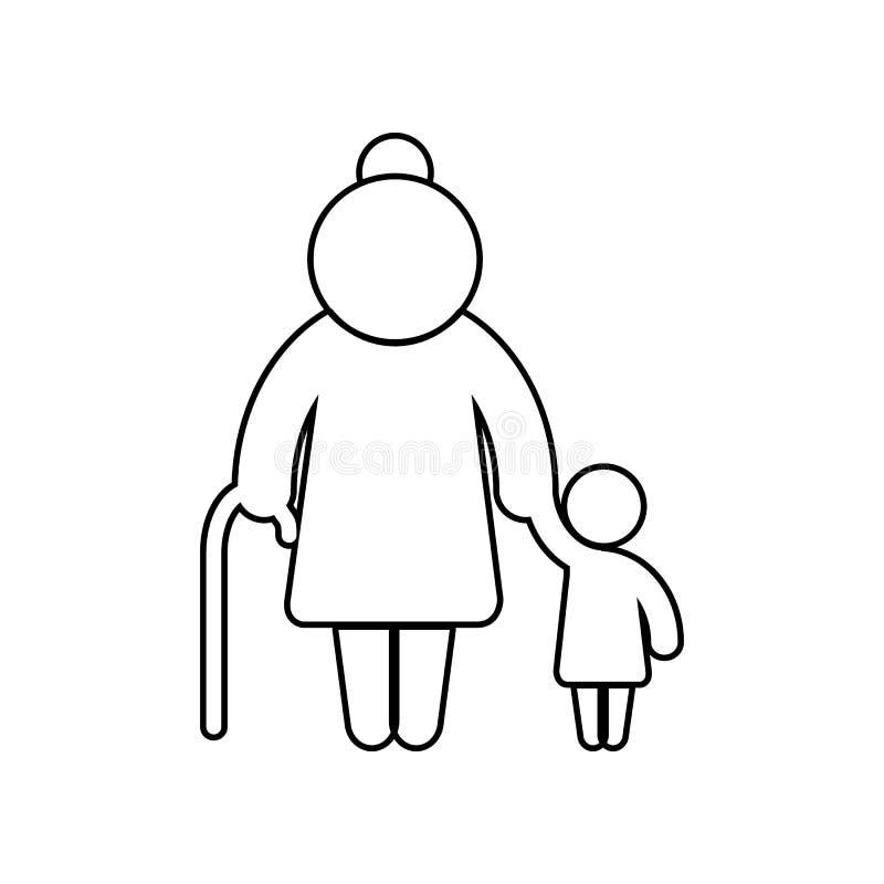 La grand-m?re avec le familier d'enfant silhouette l'ic?ne ?l?ment de famille pour le concept et l'ic?ne mobiles d'applis de Web  illustration libre de droits