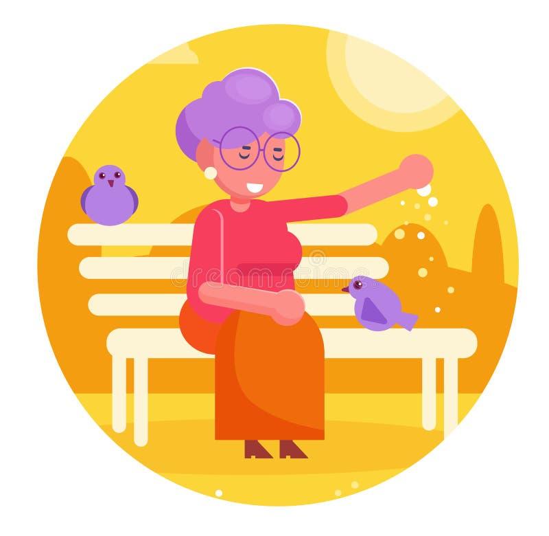 La grand-maman alimente des pigeons dans le vecteur de parc cartoon Art d'isolement illustration de vecteur