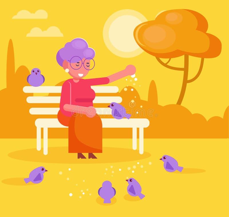 La grand-maman alimente des pigeons dans le vecteur de parc cartoon D'isolement illustration stock