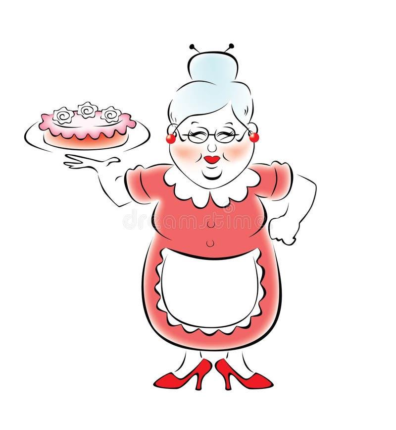 La grand-maman a fait un gâteau délicieux illustration de vecteur