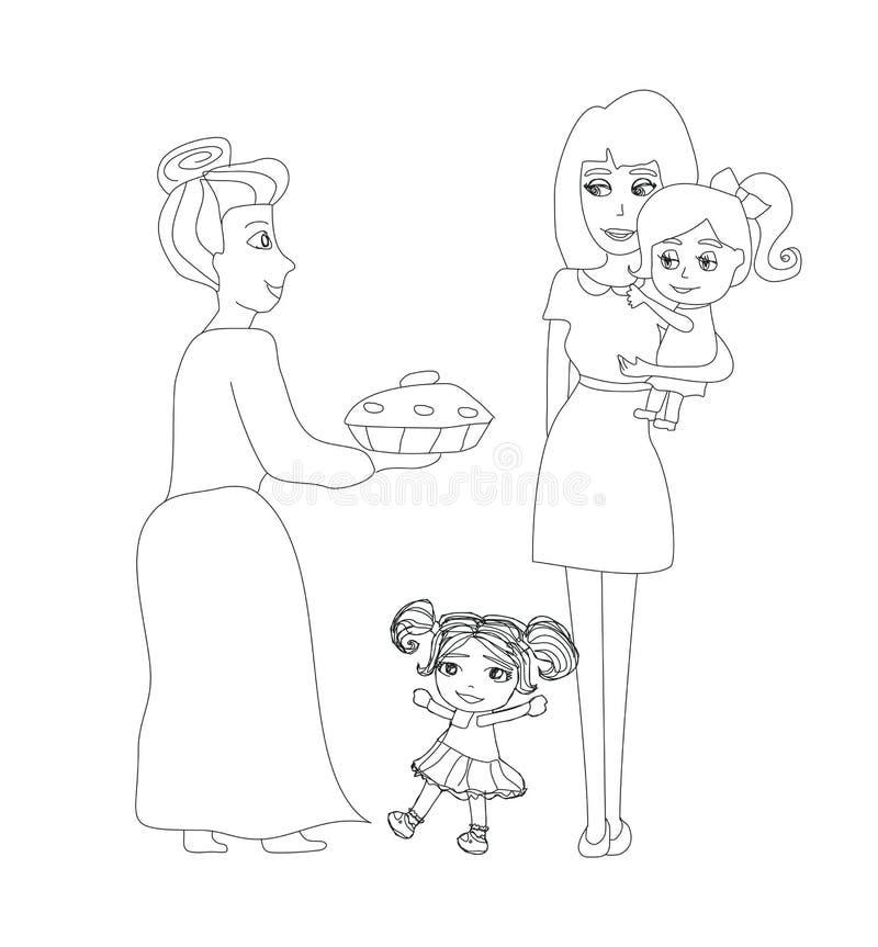 La grand-maman a fait un gâteau délicieux illustration stock
