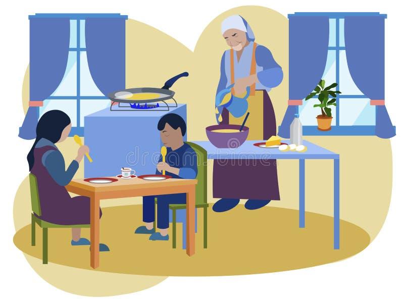 La grand-maman prépare le petit déjeuner pour ses petits-enfants Cuisine interier Dans le vecteur plat de bande dessin?e minimali illustration stock