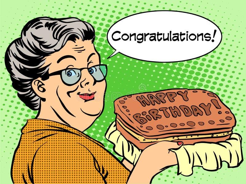 La grand-maman souhaite un gâteau de joyeux anniversaire illustration stock