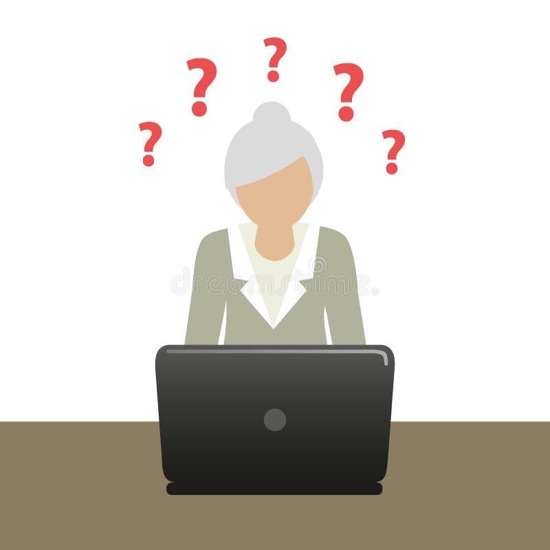La grand-maman sur l'ordinateur portable a beaucoup de questions illustration stock