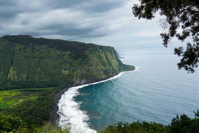 La grande île de la vallée d'Hawaï Wiapio donnent sur images stock
