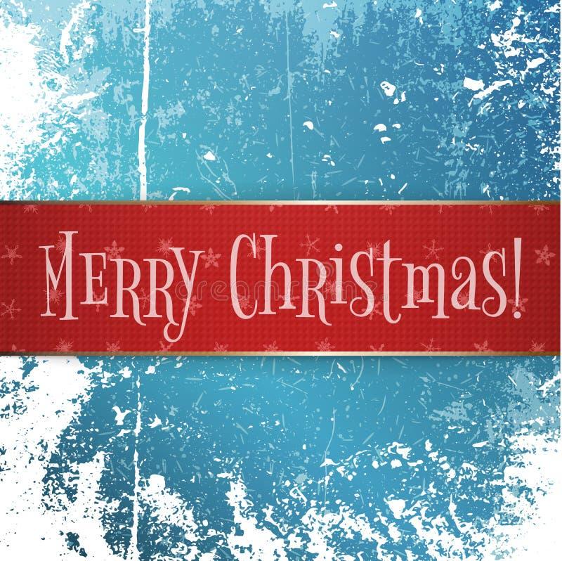 La grande bannière de Noël de rouge et d'or sur la neige glacent illustration de vecteur