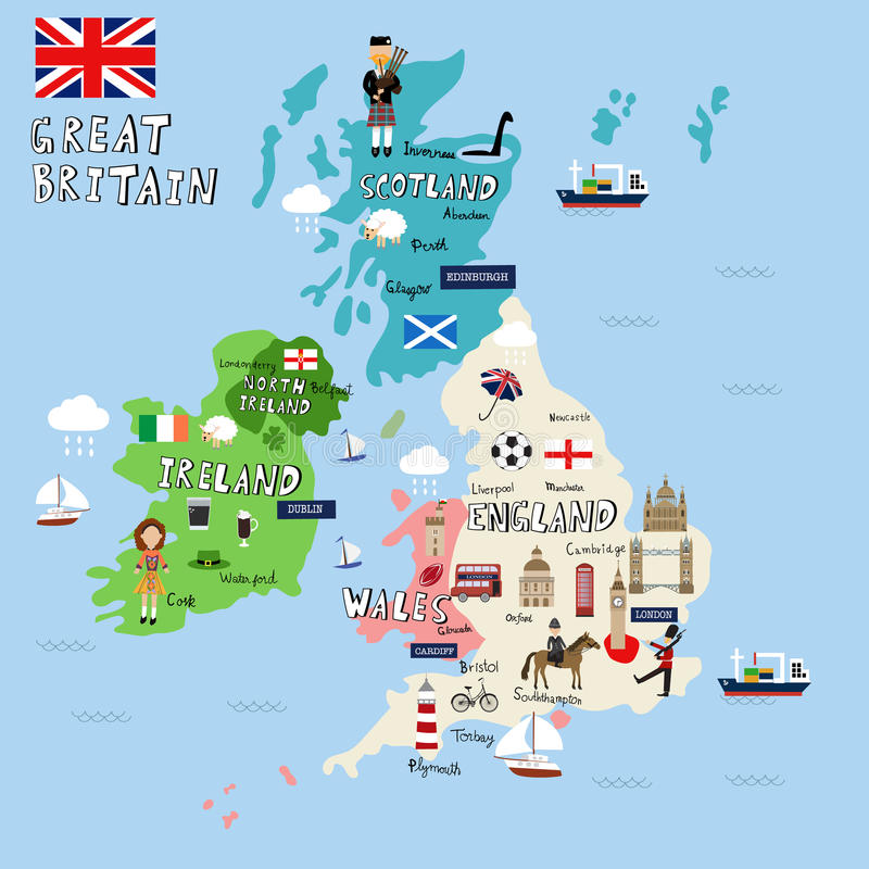 La Grande-Bretagne décrit la carte illustration de vecteur