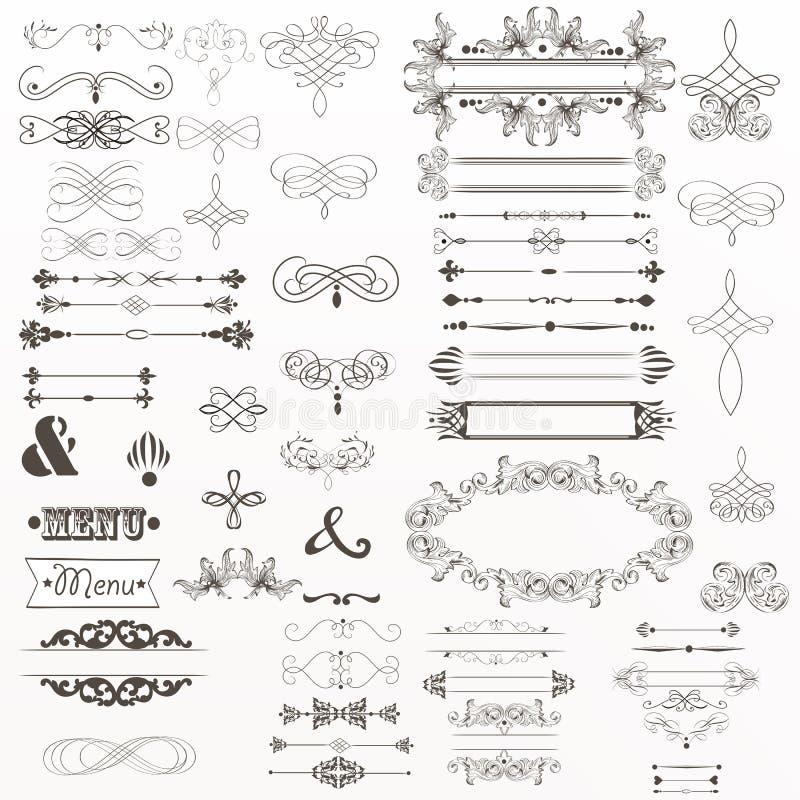 La grande collection d'éléments décoratifs de vecteur s'épanouit, tourbillonne, illustration stock