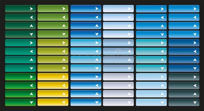 La grande collection du Web lumineux se boutonne avec la flèche illustration de vecteur