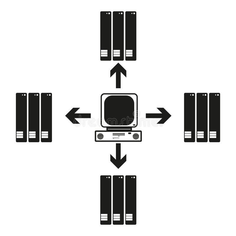 La grande comunicazione del computer di dati con altre Vector l'icona nera su fondo bianco illustrazione vettoriale