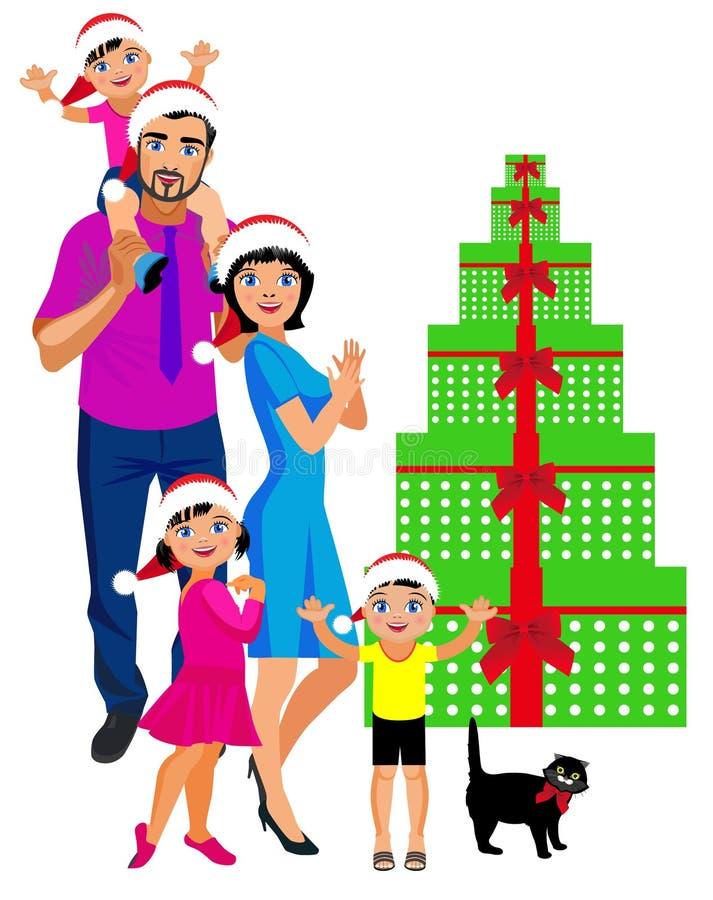 La grande famiglia celebra il nuovo anno royalty illustrazione gratis