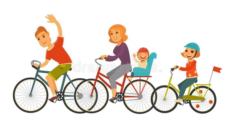 La grande famiglia guida l'illustrazione insieme isolata del fumetto delle biciclette illustrazione di stock