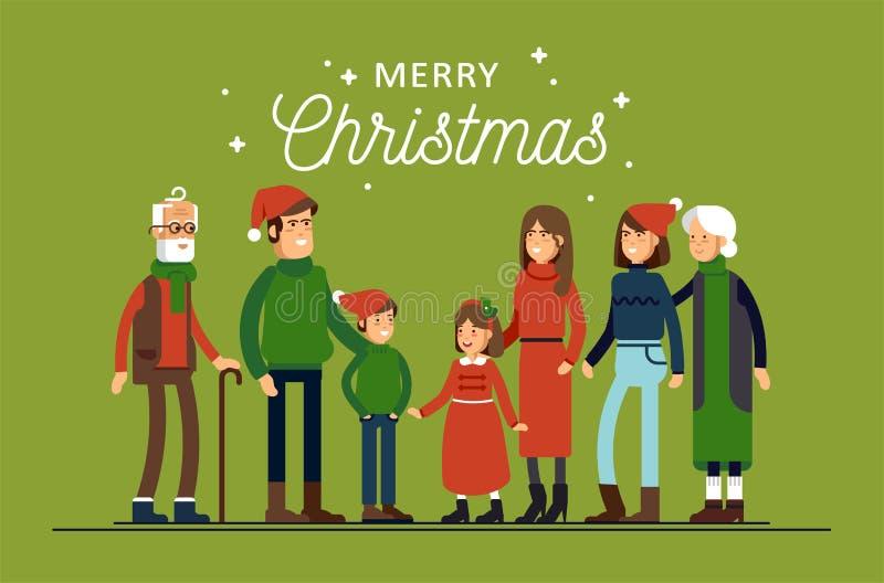 La grande famille heureuse dans des chapeaux de Noël ont étreindre Parents avec des enfants se tenant ensemble se tenants illustration libre de droits