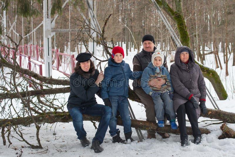 La grande famille s'asseyent sur le tronc d'arbre dans la forêt d'hiver images libres de droits