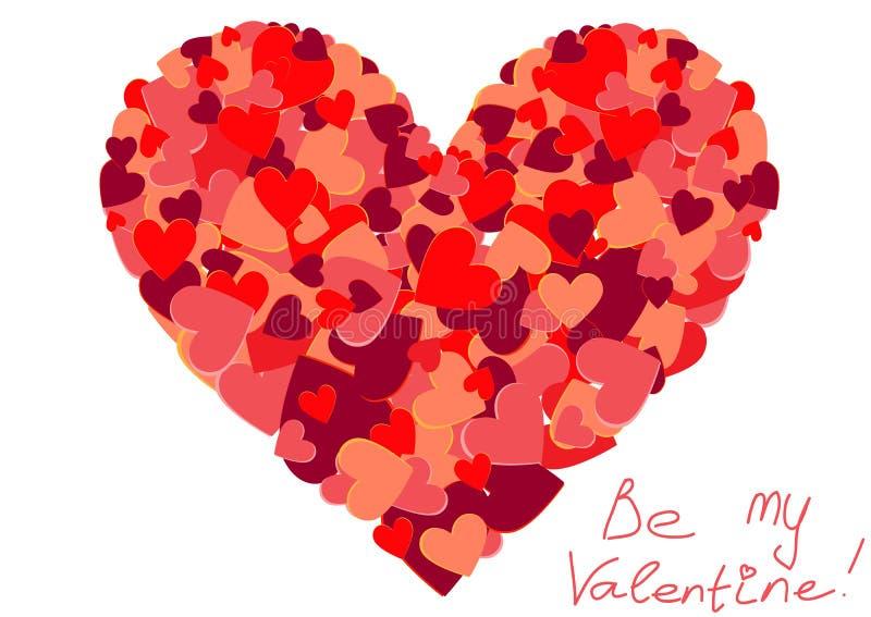La grande forme de coeur a rempli de petits coeurs colorés illustration stock