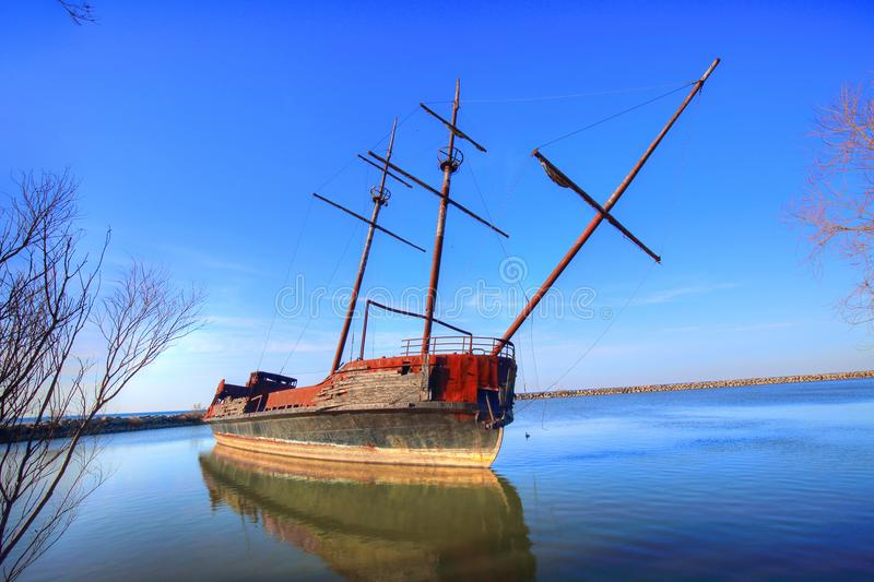 La Grande Hermine – Famous Abandoned Ship in Ontario lake on t stock images